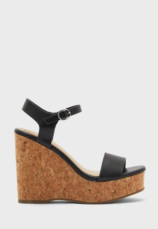 PU Ankle Strap Cork Wedge Sandal