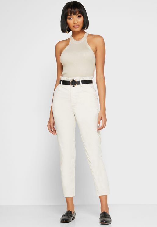 Paperbag Waist Belted Cigarette Pants
