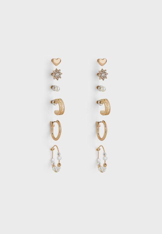 6 Pack Pearl Mix Earrings Set