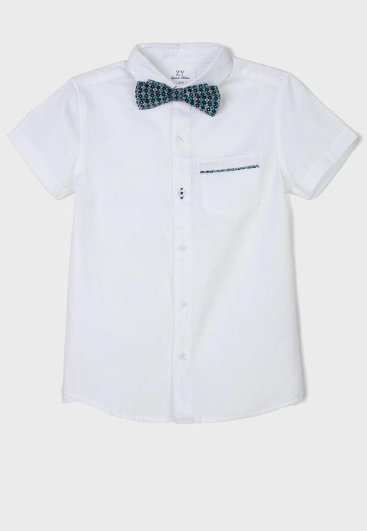 Kids Button Down Shirt With Bow Tie