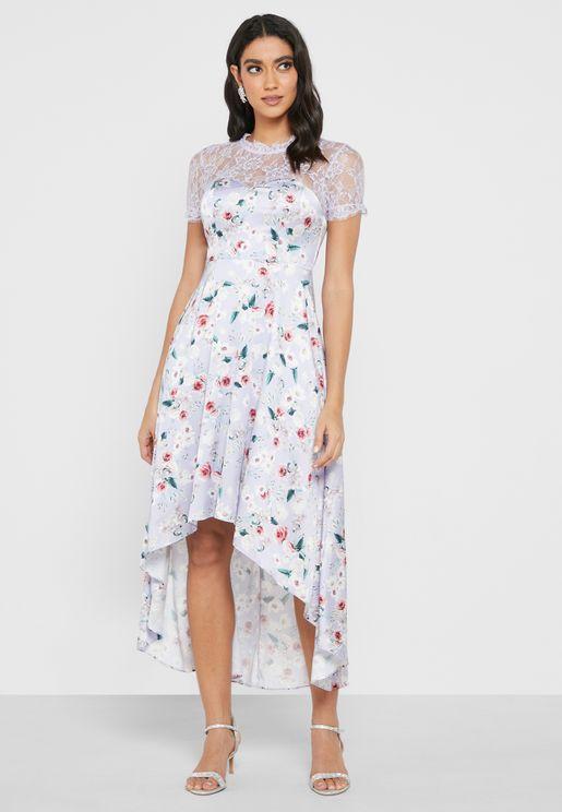 Asymmetric Mesh Detail Printed Dress