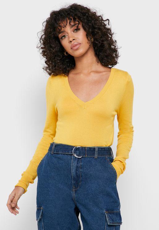 V-Neck Cuffed Sweater