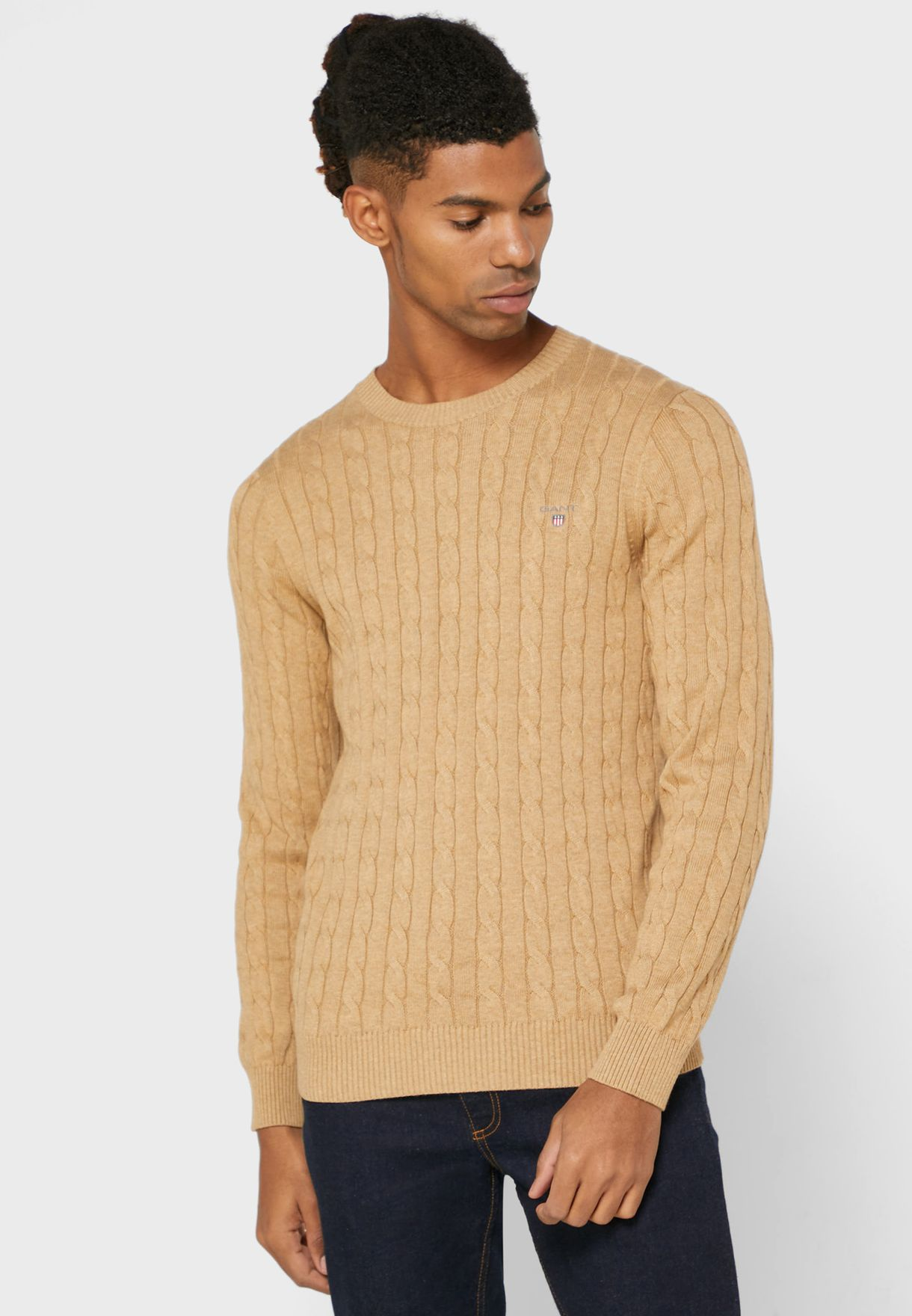 Buy Gant Brown Cable Knit Sweater For Men In Mena Worldwide 8050501 295