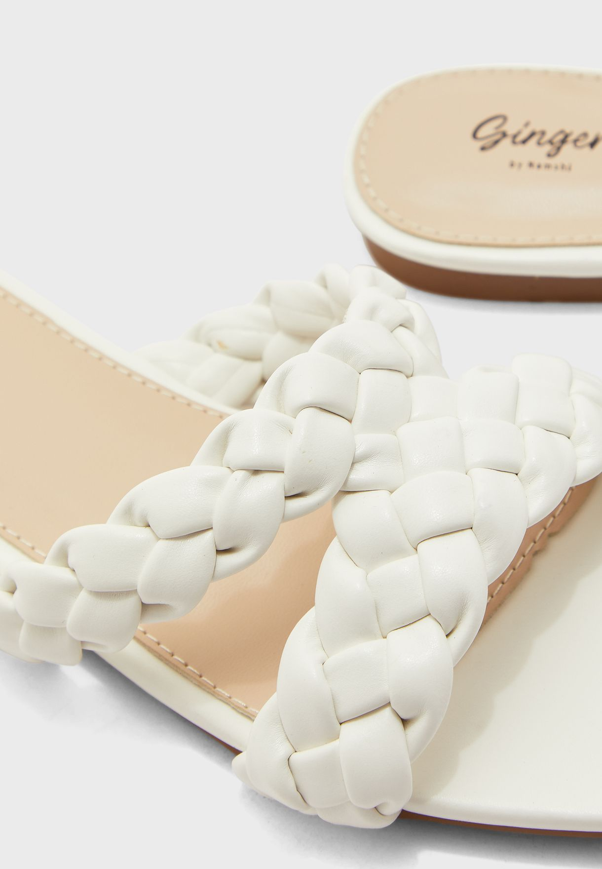 V Shape Braided Strap Flat Sandals