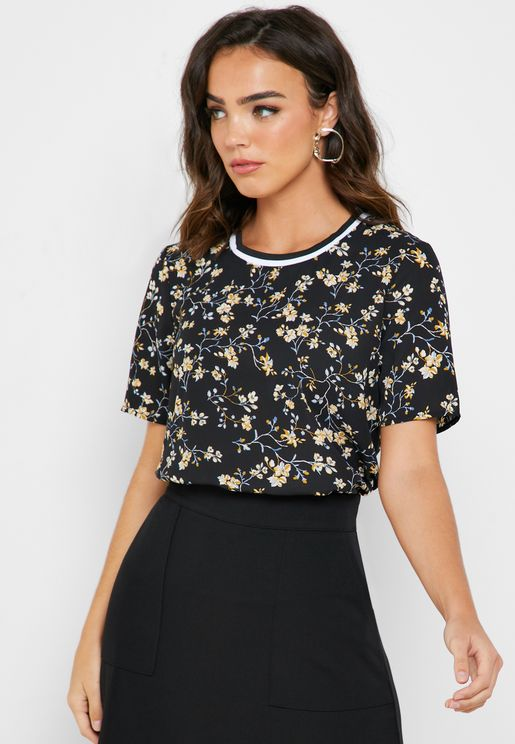 Ribbed Floral Print Top