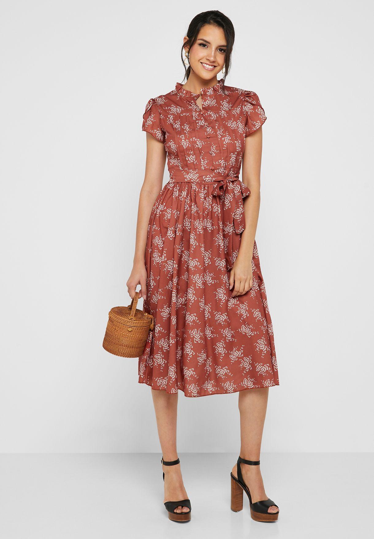 فستان ميدي مطبع بكسرات