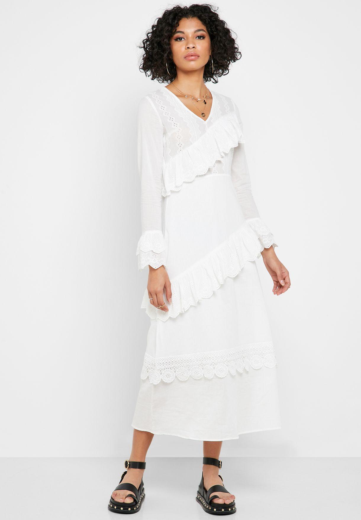 V-Neck Ruffle Detail Scallop Dress
