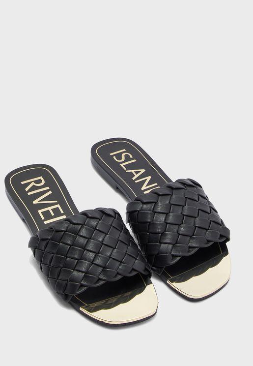 Woven Vamp Flat Sandal