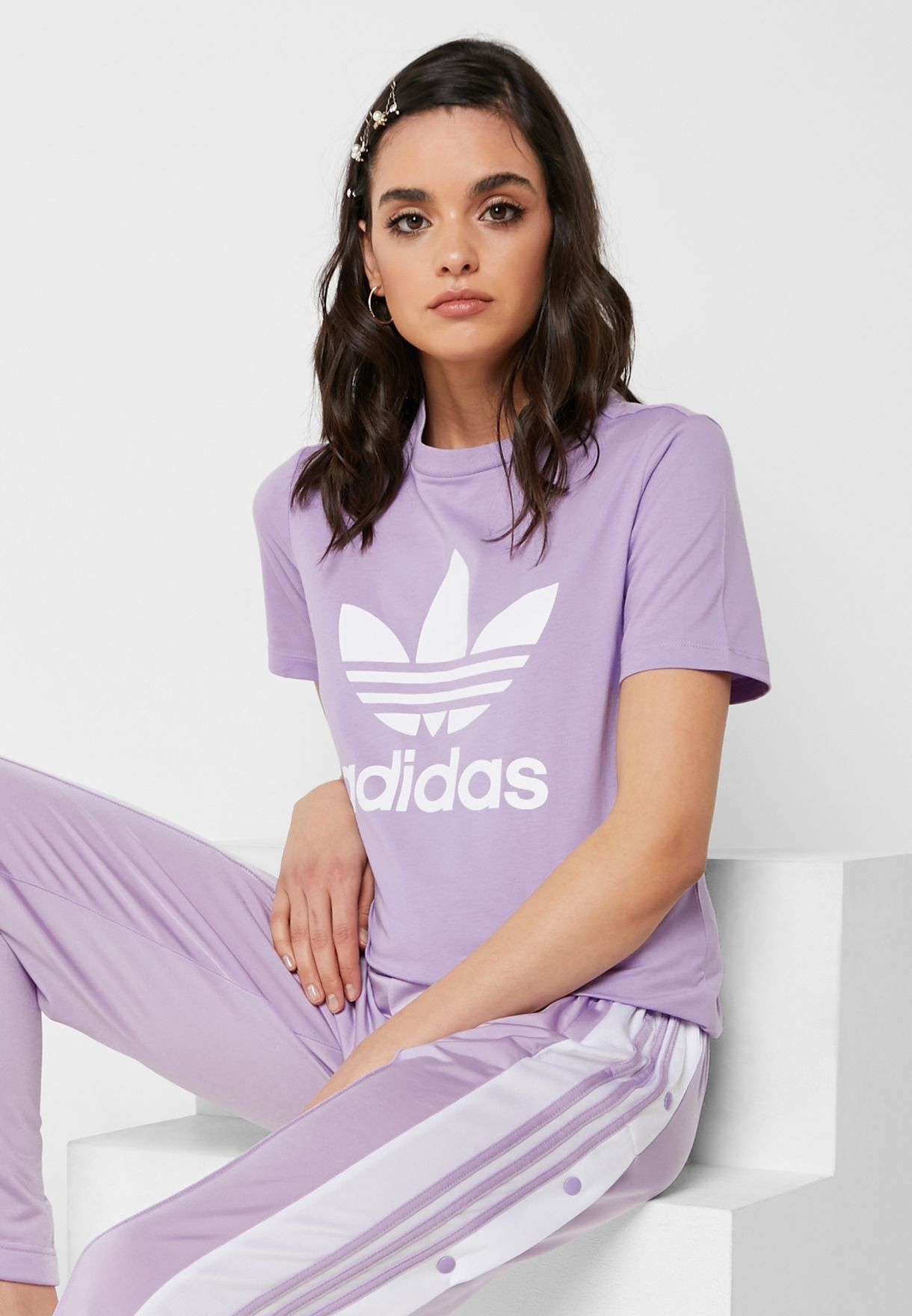 Shop adidas Originals purple Trefoil T-Shirt DV2595 for Women in UAE -  14448AT19VNP 62bc915a5e