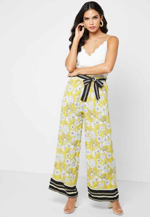 High Waist Wide Leg Floral Print Pants