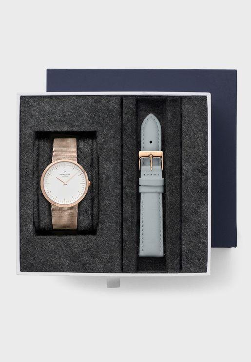 Casual Round Multi Strap Analog Watch Gift Set