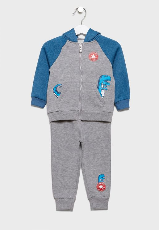 Infant Dino Colour Block Hooded Tracksuit