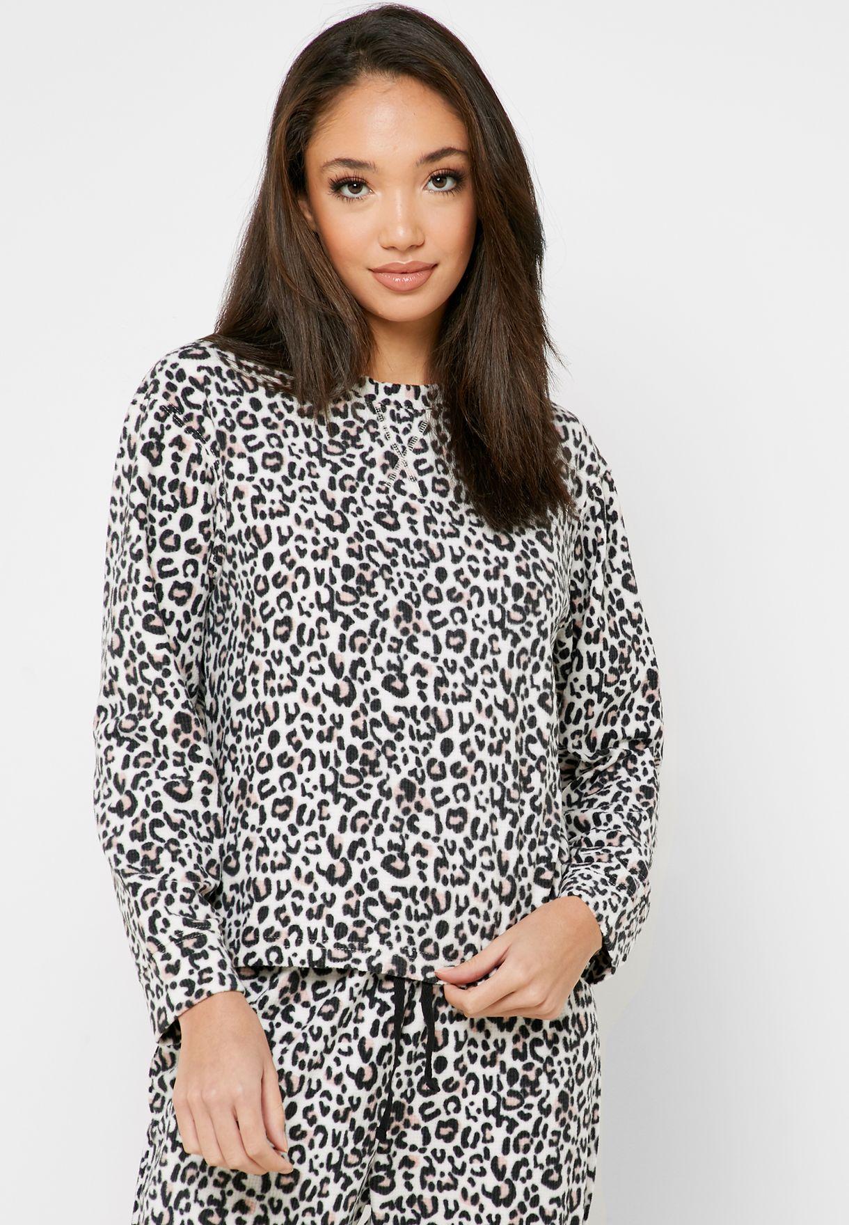 Leopard Print Top & Pyjama Set