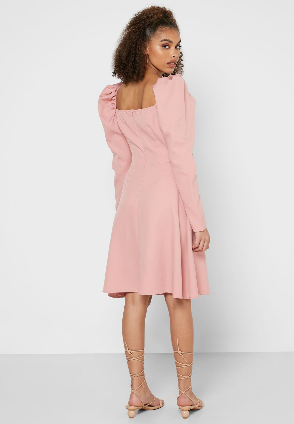 Ruched Box Pleat Mini Dress