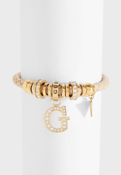 B-Nude G Charm & Beads Bracelet