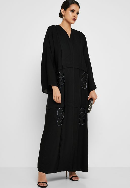 b78b4998526 Embroidered Front Panel Abaya