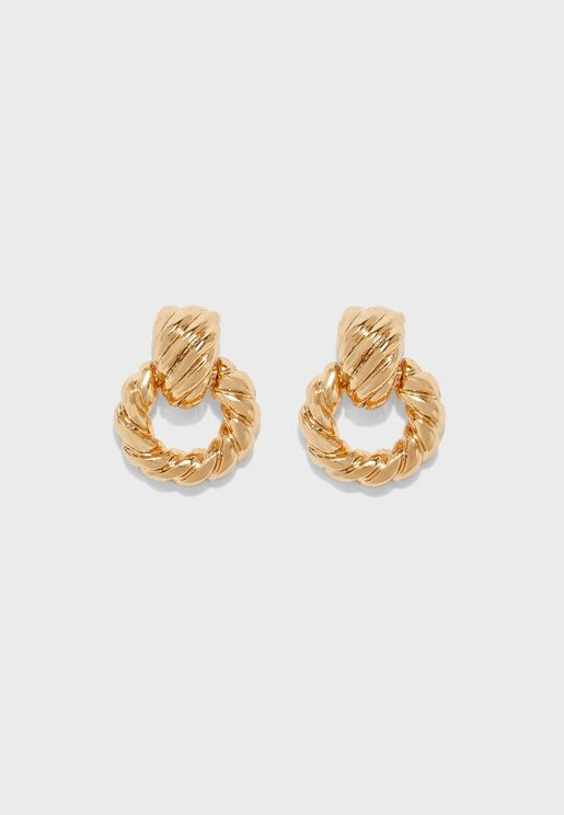 Woven Door Knocker Earrings