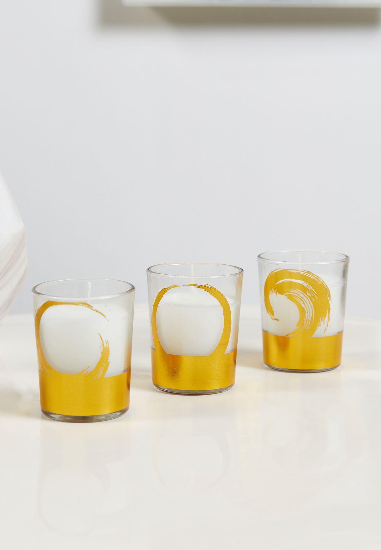 مجموعة شموع عطرية بالفانيلا واللافندر عدد 3