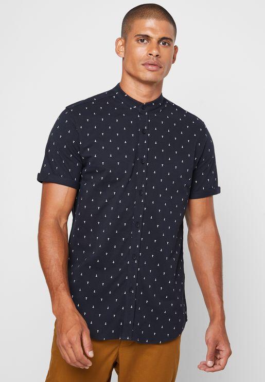قميص سليم فت بياقة دائرية