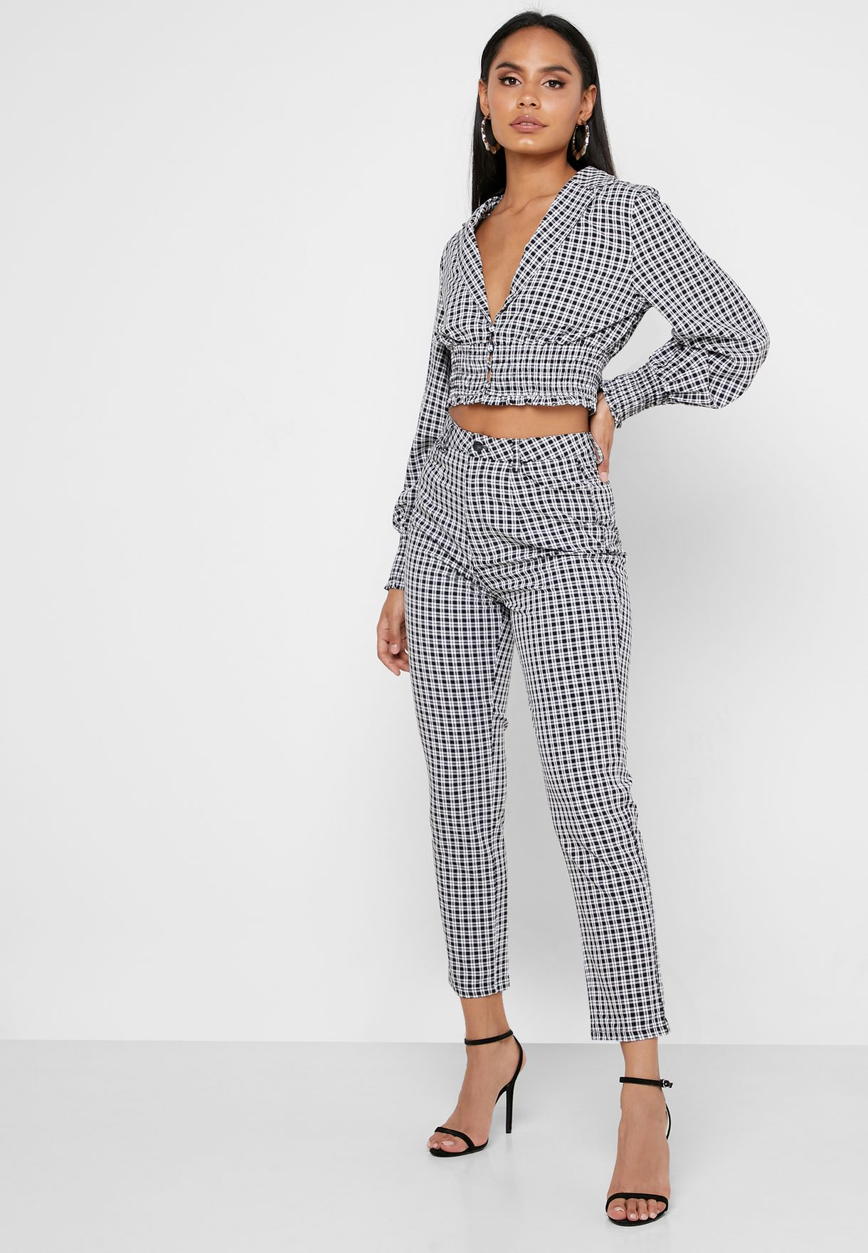 Checked Shirred Top