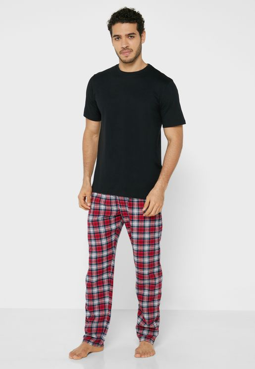 T-Shirt & Checked Bottoms Pyjama Set
