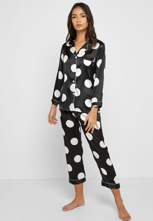 Polka Dot Shirt & Pants Pyjama Set