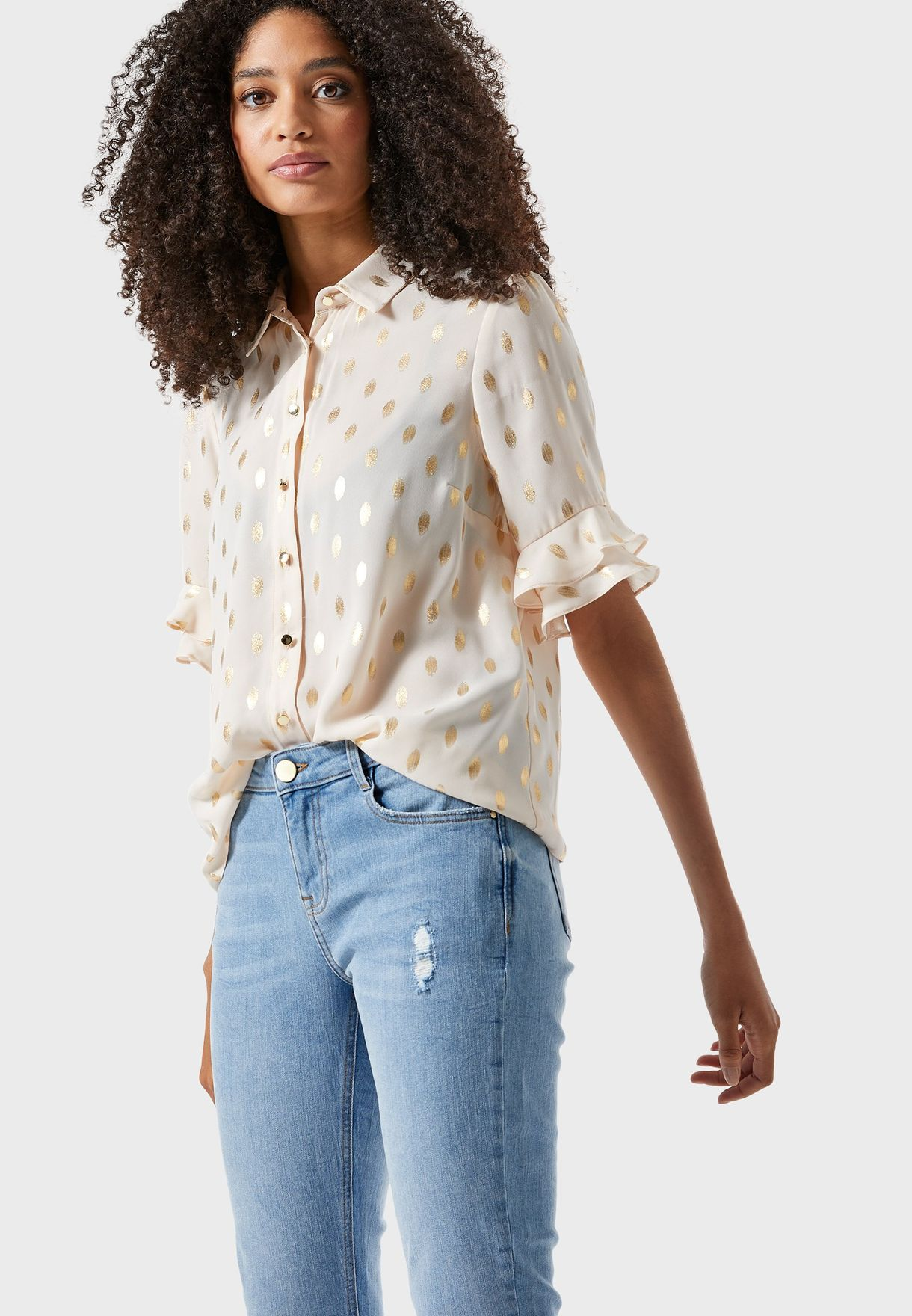 Foil Ruffle Sleeves Shirt