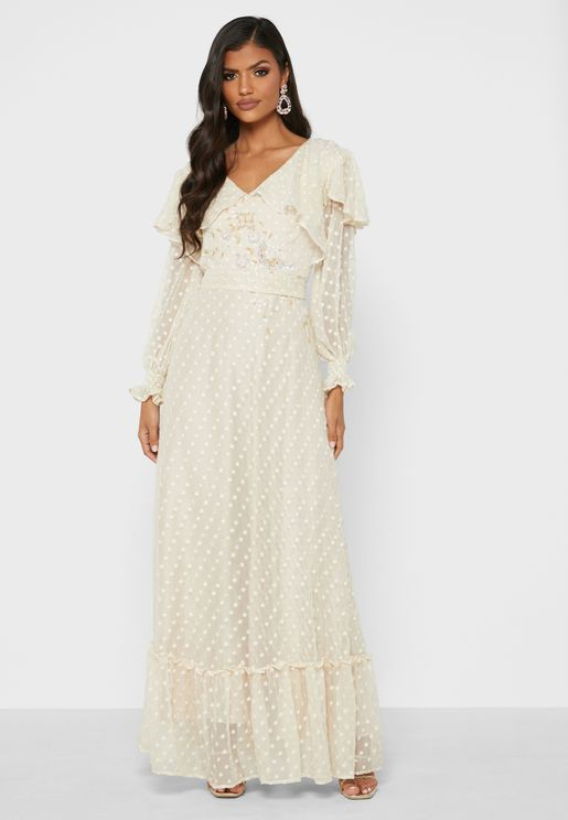 Embroidered Wrap Neck Dress