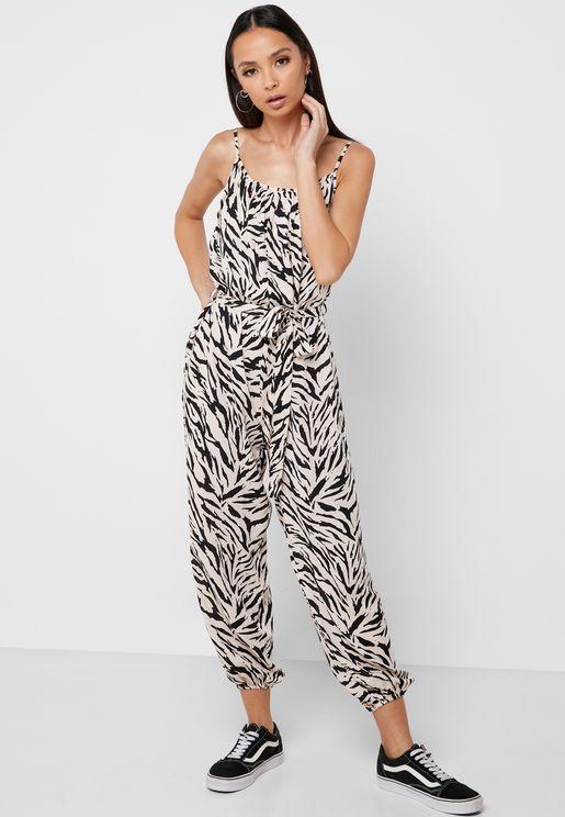 Tie Waist Tiger Print Jumpsuit