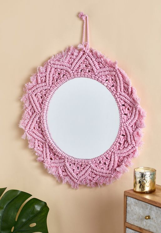Round Embroidered Wall Mirror
