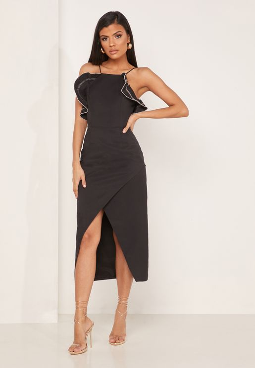 Affinity Ruffle Detail Front Split Dress