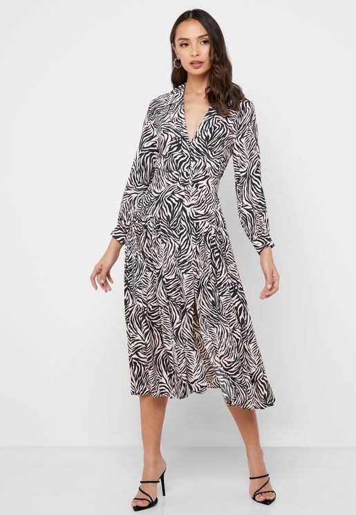 Buckle Detail Zebra Print Dress