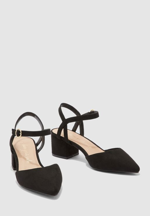 Ankle Strap Mid Heel Pump - black