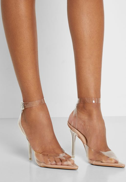 Pointed Toe Clear Heeled Sandal