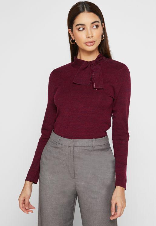 Tie Neck Sweater