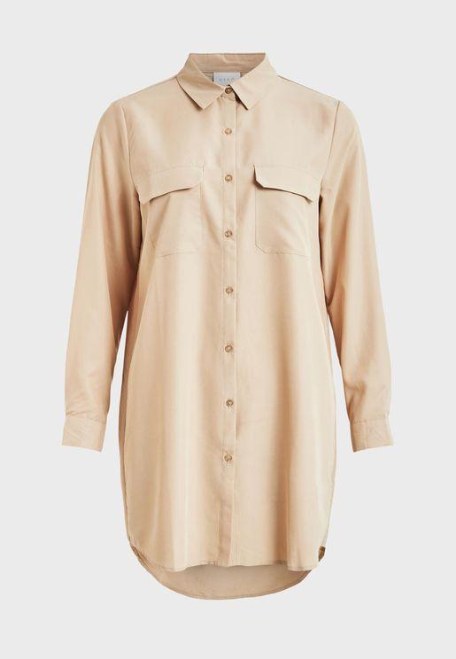 High Low Curve Hem Shirt