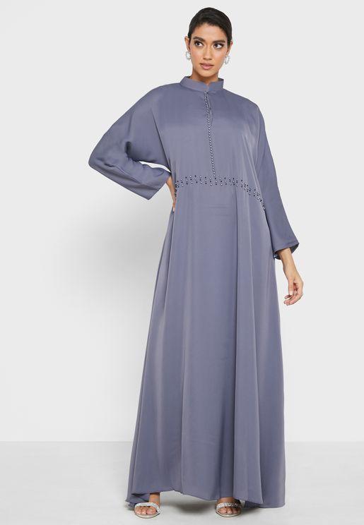 Button Detail Modest Dress