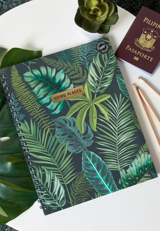 A4 Leaf Print Notebook