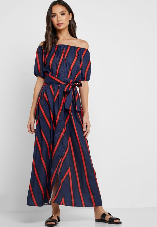 Striped Bardot Self Tie Maxi Dress