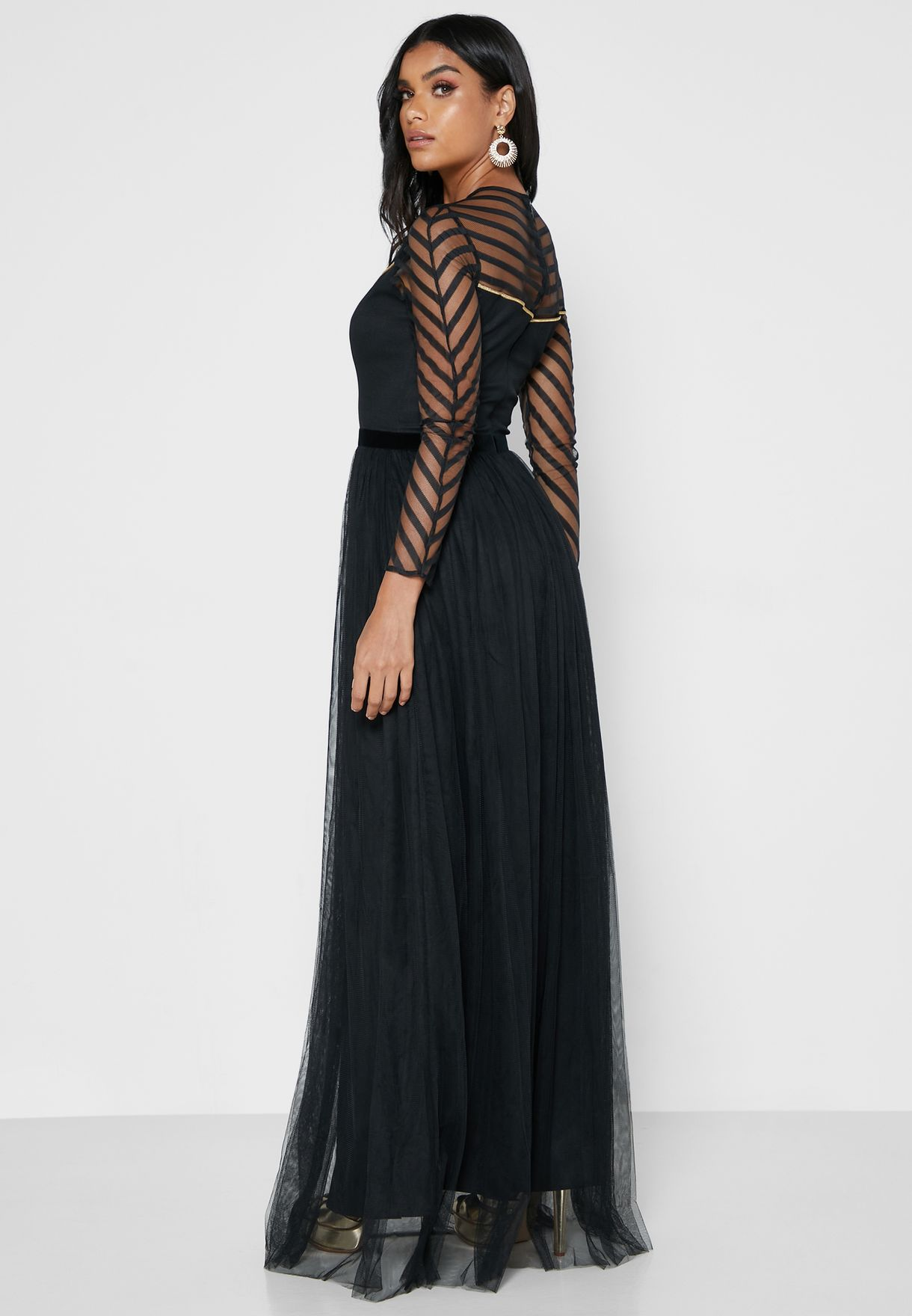 Mesh Detail Pleated Dress
