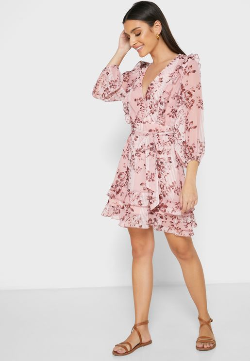 Floral Print Wrap Front Mini Dress