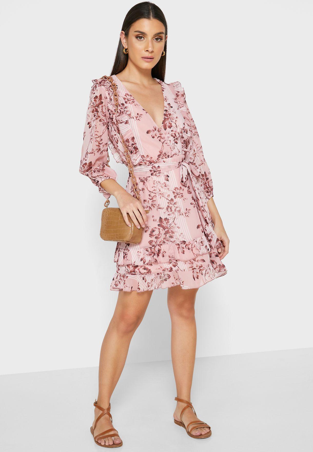Floral Print Wrap Front Mini Dress