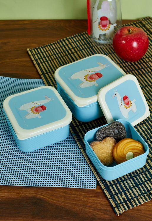 Set Of 3 Dolly Llama Snack Boxes