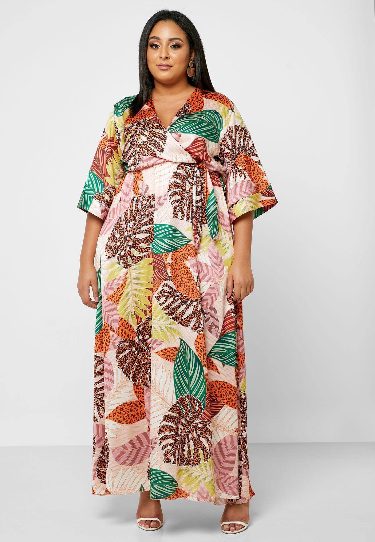 Leaf Print Wrap Front Maxi Dress