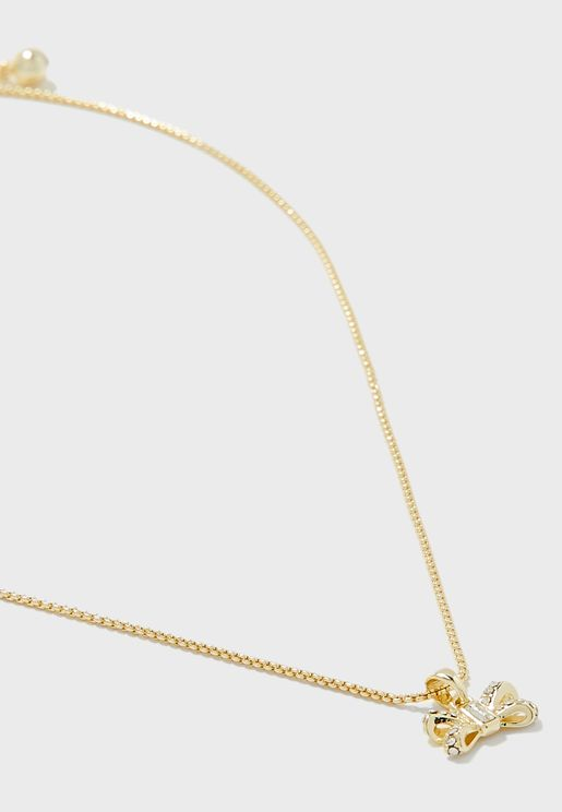 Sabena Crystal Sparkle Bow Tiny Pendant Necklace