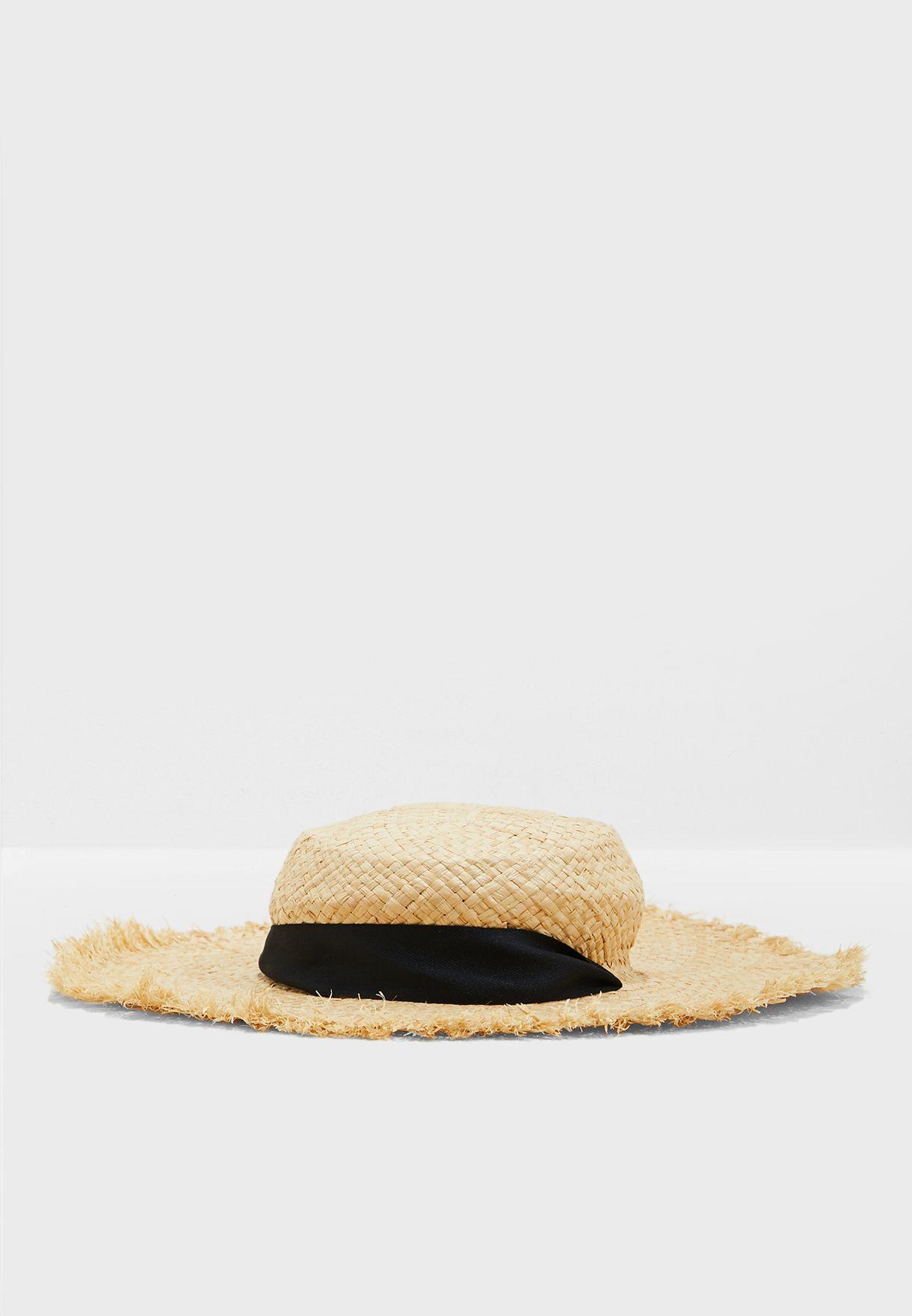 3ab14d5dc0942 Shop South beach beige Wide Brim Fringed Straw Hat 29922 for Women ...