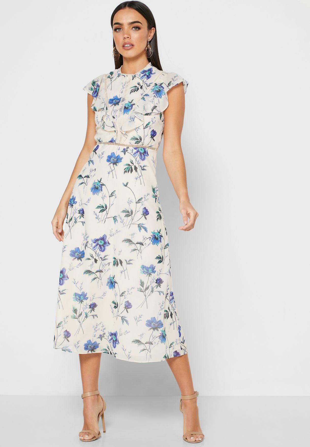 Cape Sleeve Floral Print Dress