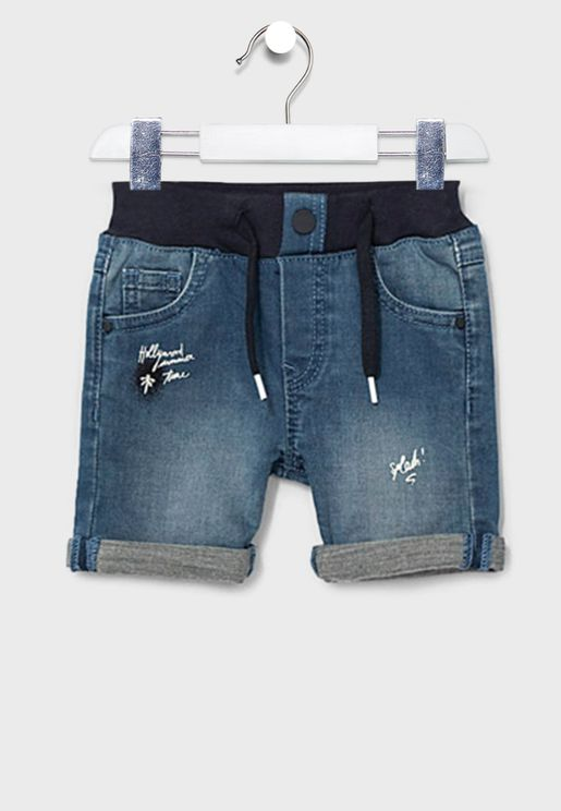 Kids Tie Waist Detail Denim Shorts