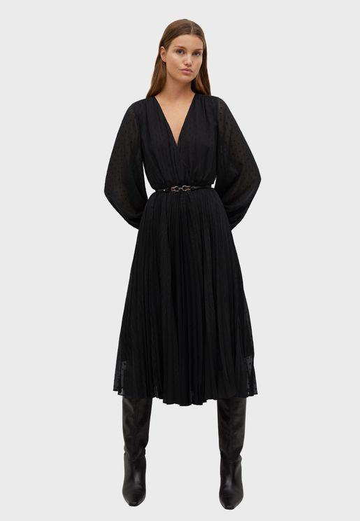 Sheer Sleeve Wrap Dress