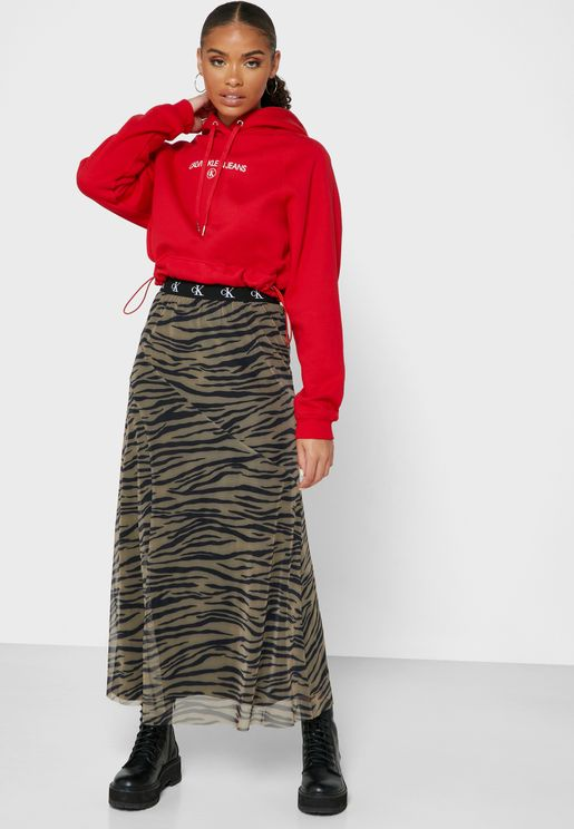 Logo Band Animal Print Skirt